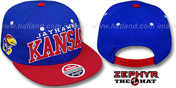 Kansas '2T SUPER-ARCH SNAPBACK' Royal-Red Hat by Zephyr
