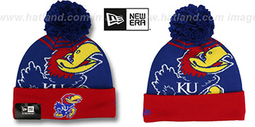 Kansas 'LOGO WHIZ' Royal-Red Knit Beanie Hat by New Era
