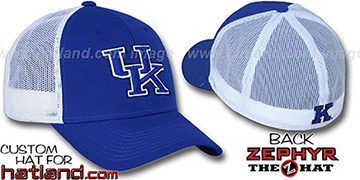 Kentucky DHS-MESH Fitted Hat by Zephyr - royal-white