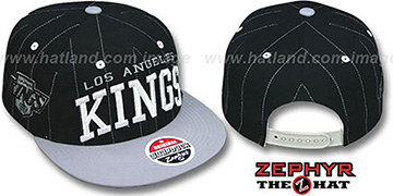 Kings 2T PINSTRIPE SUPER-ARCH SNAPBACK Black-Grey Hat by Zephyr