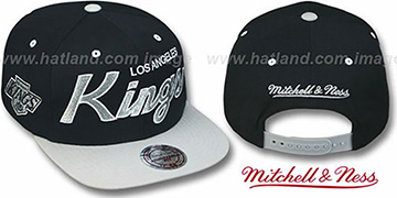 Kings '2T TEAM-SCRIPT SNAPBACK' Black-Grey Hat by Mitchell and Ness