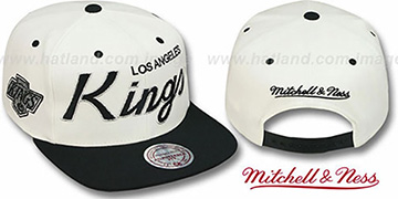 Kings '2T TEAM-SCRIPT SNAPBACK' White-Black Hat by Mitchell and Ness