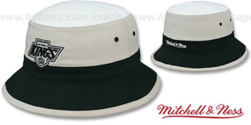 Kings 'COLOR-BLOCK BUCKET' White-Grey-Black Hat by Mitchell and Ness