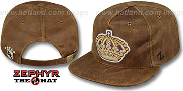 Kings DYNASTY LEATHER STRAPBACK Brown Hat Zephyr