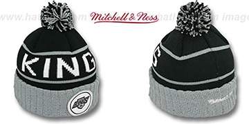 Kings HIGH-5 CIRCLE BEANIE Black-Grey by Mitchell and Ness