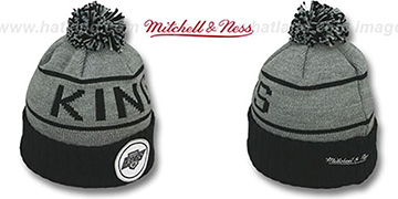 Kings HIGH-5 CIRCLE BEANIE Grey-Black by Mitchell and Ness