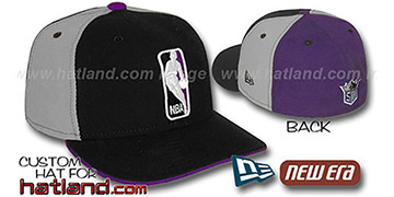 Kings 'LOGOMAN' Black-Grey-Purple Fitted Hat by New Era