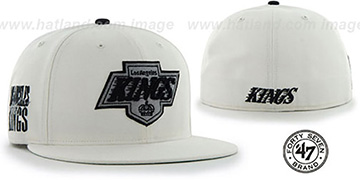 Kings 'NHL CATERPILLAR' White Fitted Hat by 47 Brand