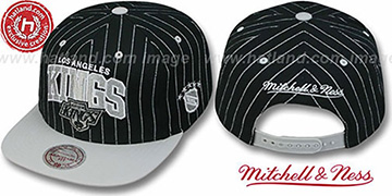 Kings PINSTRIPE 2T TEAM-ARCH SNAPBACK Black-Grey Adjustable Hat by Mitchell & Ness