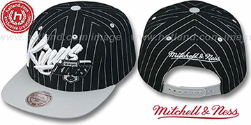 Kings PINSTRIPE 2T VICE SNAPBACK Black-Grey Adjustable Hat by Mitchell & Ness