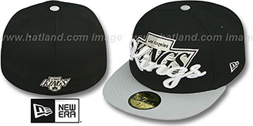 Kings 'SCRIPT-PUNCH' Black-Grey Fitted Hat by New Era