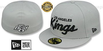 Kings SCRIPT TEAM-BASIC Grey-Black Fitted Hat by New Era