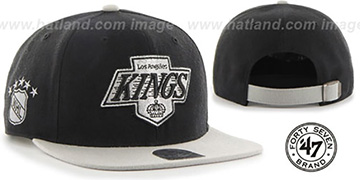 Kings SUPER-SHOT STRAPBACK Black-Grey Hat by Twins 47 Brand