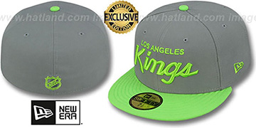 Kings TEAM-SCRIPT Ash Grey-Lime Fitted Hat by New Era