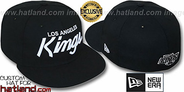 Kings 'TEAM-SCRIPT' Black-White Fitted Hat by New Era