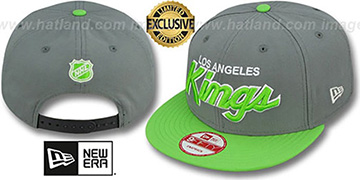 Kings 'TEAM-SCRIPT SNAPBACK' Ash Grey-Lime Hat by New Era