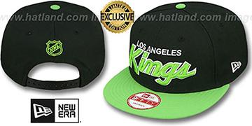 Kings 'TEAM-SCRIPT SNAPBACK' Black-Lime Hat by New Era