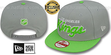 Kings TEAM-SCRIPT SNAPBACK Light Grey-Lime Hat by New Era
