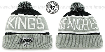 Kings THE-CALGARY Grey-Black Knit Beanie Hat by Twins 47 Brand