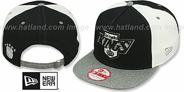 Kings 'TRIPLE MELTON STRAPBACK' Black-White-Grey Hat by New Era