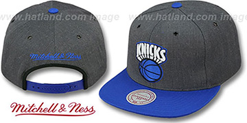 Knicks '2T-HEATHER SNAPBACK' Grey-Royal Hat by Mitchell & Ness