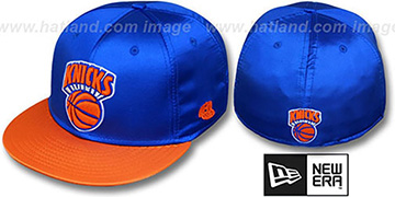 Knicks 2T HW SATIN CLASSIC Royal-Orange Fitted Hat by New Era