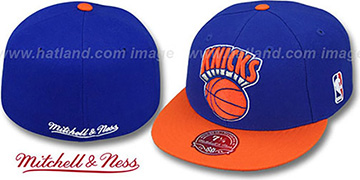 Knicks '2T XL-LOGO' Royal-Orange Fitted Hat by Mitchell & Ness