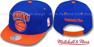 Knicks '2T XL-LOGO SNAPBACK' Royal-Orange Adjustable Hat by Mitchell and Ness