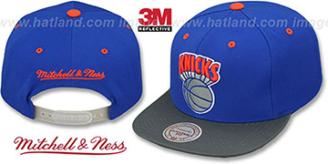 Knicks '3M XL-LOGO SNAPBACK' Royal-Grey Hat by Mitchell & Ness