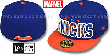 Knicks BIG WORD ACTION Royal-Orange Fitted Hat by New Era