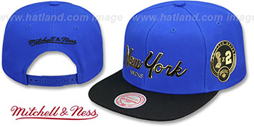 Knicks CITY CHAMPS SCRIPT SNAPBACK Royal-Black Hat by Mitchell and Ness