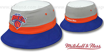 Knicks 'COLOR-BLOCK BUCKET' Grey-Orange-Royal Hat by Mitchell and Ness