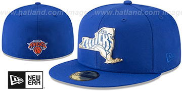 Knicks GOLD STATED METAL-BADGE Royal Fitted Hat by New Era