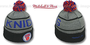 Knicks HIGH-5 CIRCLE BEANIE Grey-Black by Mitchell and Ness