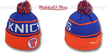 Knicks HIGH-5 CIRCLE BEANIE Royal-Orange by Mitchell and Ness