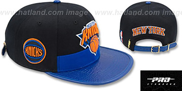 Knicks HORIZON STRAPBACK Black-Royal Hat by Pro Standard