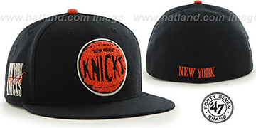 Knicks 'HWC CATERPILLAR' Black Fitted Hat by 47 Brand