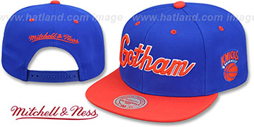 Knicks HWC CITY NICKNAME SCRIPT SNAPBACK Royal-Orange Hat by Mitchell and Ness