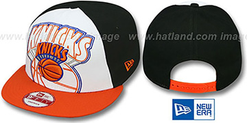 Knicks LITTLE-BIG POP SNAPBACK White-Black-Orange Hat by New Era