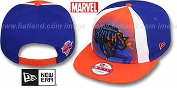 Knicks MARVEL RETRO-SLICE SNAPBACK Royal-Orange Hat by New Era