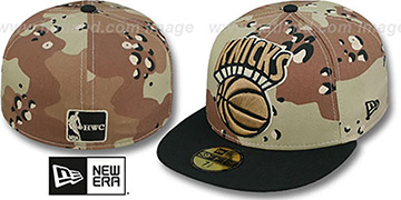 Knicks MIGHTY-XL Desert Storm Camo Fitted Hat by New Era