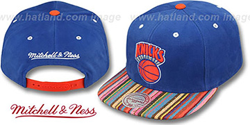 Knicks 'NATIVE-STRIPE SNAPBACK' Royal Hat by Mitchell & Ness