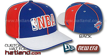 Knicks NBA PINWHEEL-3 Royal-Orange-White Fitted Hat