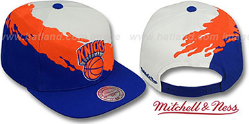 Knicks 'PAINTBRUSH SNAPBACK' White-Orange-Royal Hat by Mitchell & Ness