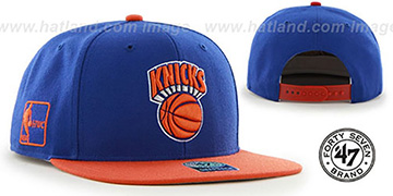 Knicks SURE-SHOT SNAPBACK Royal-Orange Hat by Twins 47 Brand