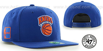 Knicks SURE-SHOT SNAPBACK Royal Hat by Twins 47 Brand
