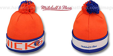 Knicks THE-BUTTON Knit Beanie Hat by Michell & Ness