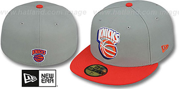 Knicks TRACE-POP Grey-Orange Fitted Hat by New Era