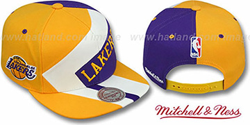 Lakers '1-ON-1 SNAPBACK' Gold-White-Purple Hat by Mitchell & Ness