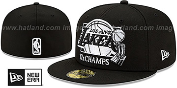 Lakers '17X MULTI CHAMPS' Black-White Fitted Hat by New Era